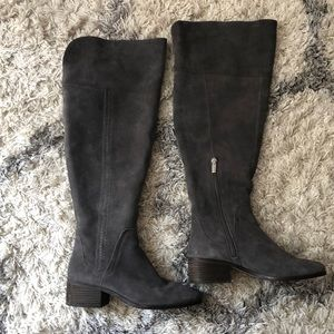 Vince Camuto OTK gray suede boots, size 8